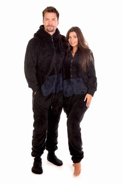 Černé dupačky pro dospělé s tmavě modrou kapsou