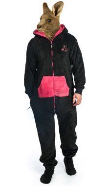 Černé dupačky pro dospělé s růžovými doplňky