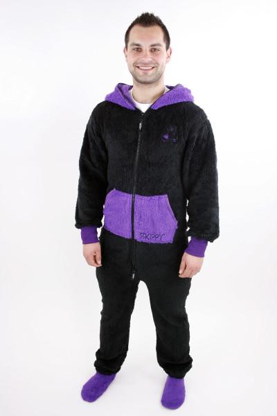 Černé pánské dupačky pro dospělé s doplňkovou fialovou