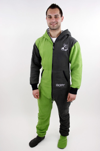 Zeleno-šedé pánské bavlněné dupačky pro dospělé
