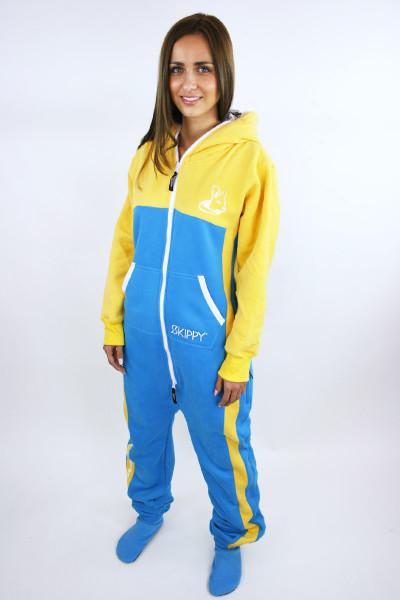 Žluto-modré dámské dupačky pro dospělé