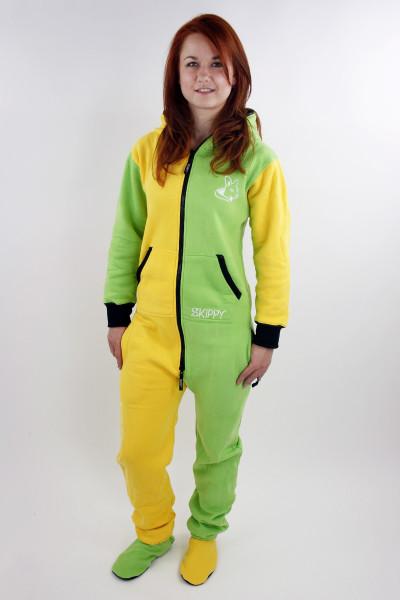 Žluto-zelené dámské bavlněné dupačky pro dospělé